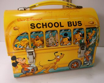 Rare Vintage 1961 Walt Disney Dome School Bus Metal Lunch Box No Thermos Aladdin Industries. epsteam