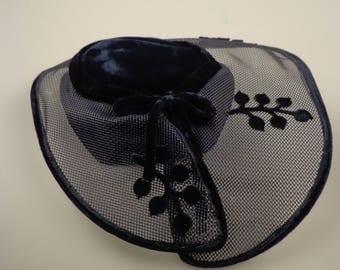 Vintage Navy Platter Hat - 50s - ECS