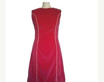 ON SALE 1960 60s velvet dress pink M mod gogo twiggy mad men