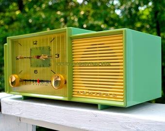 MINT GREEN Mid Century Retro Vintage 1959 Admiral 298 Tube AM Clock Radio Sounds Great!