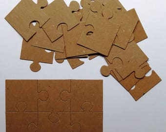 Set Of Bare Chipboard  Puzzle Pieces/Diecuts/Embellishments/CardMaking/Scrapbooking/Chipboard/Puzzle Pieces/Puzzle/Die Cut