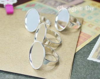 20mm/25mm Silver Plated Brass Adjustable Ring Settings Blank/Base,Fit 20mm/25mm Glass Cabochons,Buttons,Ring Bezels