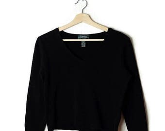 Ralph Lauren Black Cotton rib knitted top/minimal*