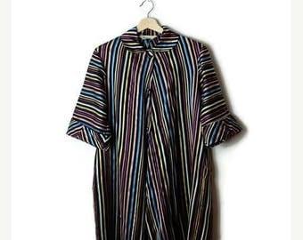 ON SALE Vintage Black x Multi color Stripe Light Swing Coat from 1960's*