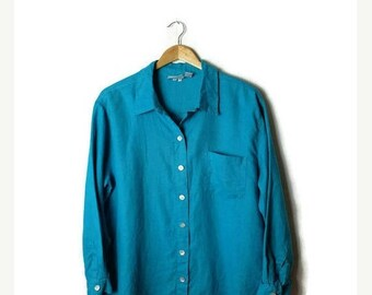 ON SALE Vintage Blueish Green Pure Linen Long sleeve Shirt/Blouse from 90's*