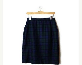 ON SALE Vintage Pendleton Green/Blue Tartan Plaid /Checked  Pencil Skirt from 90's/W25*