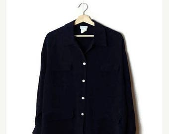 ON SALE Vintage Oversized Plain Navy Pure Silk Long sleeve Slouchy Blouse  from 90's/Minimal*