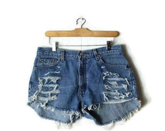 Damaged /Distressed Vintage Levi's 512 Cut off  Denim Shorts from 90's/W30*