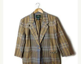 ON SALE Vintage Beige x Blue Checked/Plaid Cotton Tailored Jacket /Blazer/Hunt Club*