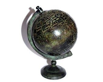 Old Stone Desk Globe. Stone and Metal World Globe. Small Globe. Stone Globe. Vintage Globe. Globe. World. Atlas. Earth. Desk Globe.