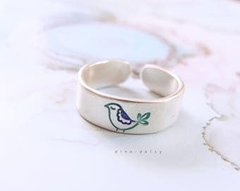 Sterling Silver Toe Ring - Little Blue Bird