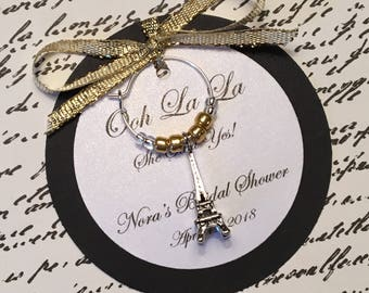 50-95 Custom Eiffel Tower Wine Charm Favors - Paris Themed Favors - Bridal Shower, Wedding, Birthday Party, Anniversary or Special Event