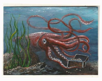 Giant squid art | Etsy