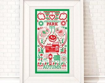 Brockwell Park autumn Print | London illustration | South London print | Autumn illustration
