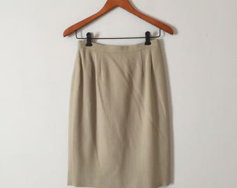 1970s wool pencil skirt // sea foam green pencil skirt