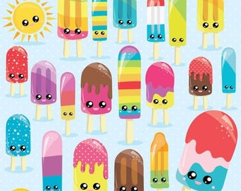 80% OFF SALE Popsicle clipart commercial use, Kawaii Popsicles cliparts, Ice Lolly digital clip art, Ice pop digital images - CL1002