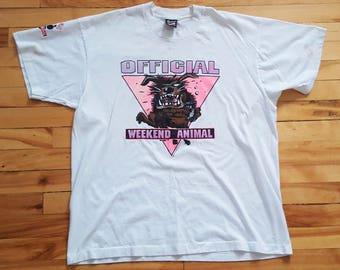 Vintage Weekend Animals 90's XL T Shirt VTG