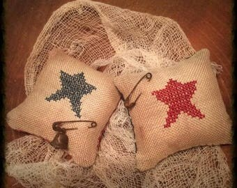 Primitive Star Pillow Tuck Pin Keep | Patriotic Bowl Fillers | Summer Decor | Farmhouse | Cross Stitch | Independence  Day | Ameriana | Prim