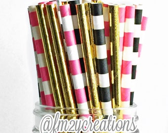 Paper Straws | Pink Black Gold Kate bridal shower | Kate Birthday Party | Kate Baby Shower |  Spade inspired party