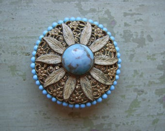 A Vintage 1950's Brooch/Pin - Flower/Filigree/Glass Cabochon - Turquoise - Circa 1950's.