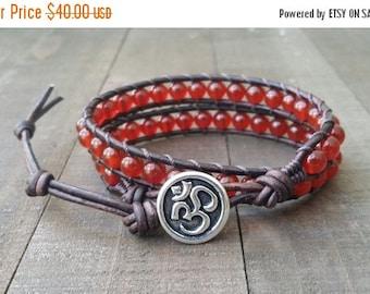 SUMMER SALE Carnelian leather wrap bracelet double wrap chakra bracelet om button dark brown leather boho bracelet chakra bracelet