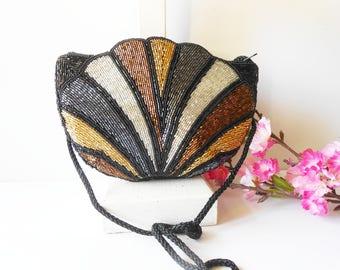 Beaded Evening Bag, Beaded Neutrals, Vintage Evening Bag, Vintage Beaded Bag, Copper Silver. Beaded Handbag EB-0618