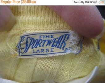 On sale Vtg 40s Fine Sportwear Mens Vintage Yellow Cotton Short Sleeve Tshirt Shirt