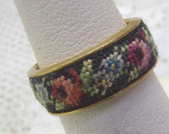 Vintage Petit Point Flower Ring...Handstitched Band Ring...Size 4 1/2...Add On Costume Ring