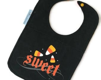 Upcycled T-shirt Bib • Candy Corn Baby Bib • Baby Shower Gift • Halloween Baby Gift •
