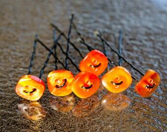 Amber Hair Pins - Bun Pins - Button Hair Pins -  Hair Jewelry - Updo Hair Style - Wedding Hair Accesory - Set of 6 - Gift For Her = OOAK