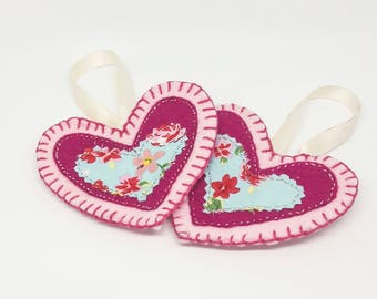 Pink and Blue heart decorations / Blue floral / felt christmas tree decoration / hanging decoration / stocking filler / gift idea