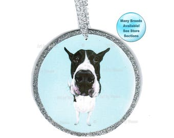 Great Dane Ornament, Harlequin Great Dane, Black and White Great Dane, Christmas Ornament, Pet Loss Gift, Tree Ornament, Dog Remembrance