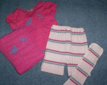 Pink Dragonfly Recycled Wool Shorties Set w/ Prefold Diaper