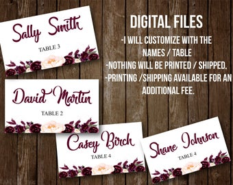Customized DIGITAL Escort cards- Seating cards, maroon, plum, table assignment, wedding,