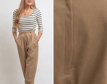 Sale Tan slacks vintage pants work EIGHTIES 90s TAPERED beige high waist SLACKS business xs high waisted mom pants 80s working woman 1980s