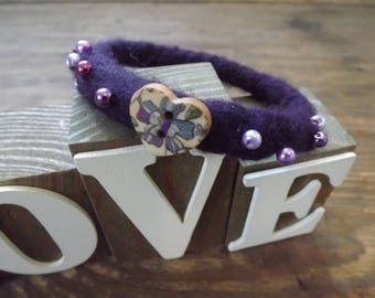 Pretty, Purple, Hand Felted Bangle made from natural wool, wooden heart and beading