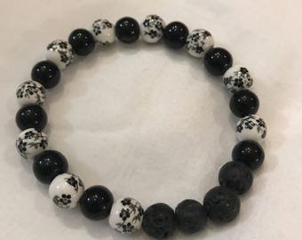 Handmade Diffuser Bracelet. Black and White! Free Sample of Essential Oils!