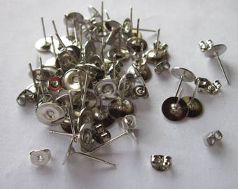 10 blank earrings 8 mm silver-plated (BO 143) tray