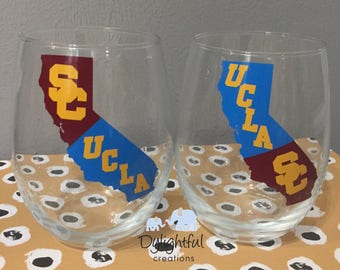 House divided wine glass ucla/usc can be done with any school trojans bruins listing is for ONE glass