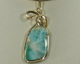 Blue Larimar Pendant Enhancer, Sterling Silver Pendant Silver Wire Wrap Pendant, Larimar Pendant, Wire Wrap Jewelry,Gemstone Pendant Silver