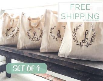 Bridesmaid Totes, Set of 9, Bridesmaid Gifts, Gifts for Bridesmaids, Bridesmaid Tote Bags, Totes for Bridesmaids, Monogrammed Tote Bags