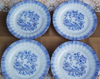 Summer sale -20% Bavaria Dessert Plates. Seltmann Weiden Plates. 4 China Blau Plates. German Vintage 1950s.
