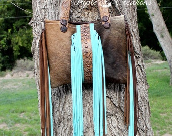 Cowhide and Fringe - Shoulder Bag
