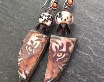 Fierce, Tigress Earrings, Coral Earrings, Tiger Earrings, Jungle Style, Animal Print, Artisan Ceramic Tiles, Tribal, Boho, Gypsy Earrings