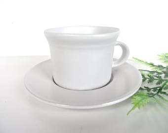 Bennington Potters White Cup & Saucer, David Gil 1626d/1627 Pottery, Mid Century Modern Pottery, Wheel Thrown Pottery Vermont