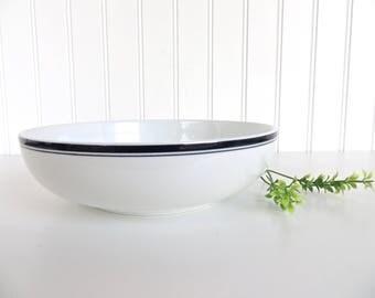Dansk Bistro Pasta Bowl, Danish Modern Blue And White Porcelain Shallow Serving Bowl, Dansk Bistro Christianshavn Bowl