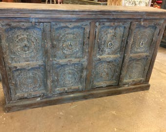 Antique Lotus Carved Distressed Blue Large Sideboards, Media TV Storage Cabinet Console Chest
