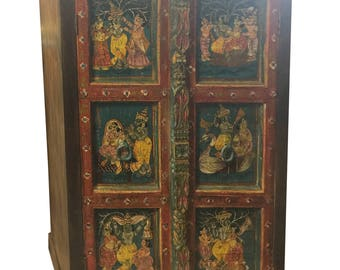 Antique ARMOIRE Cabinet Chest Krishna Hand Painted Ancient Spirituality Love Interior Design FREE SHIP Early Black Friday