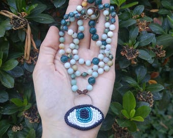 Hand Knotted Amazonite and Bead Embroidered Eye Necklace || Eye Necklace || Gemstone Necklace || Bead Embroidery by Marleena Alysia