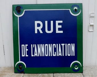 Paris street sign French street sign French wall art vintage street sigh Rue de L'Annonciation metal enamel street sign